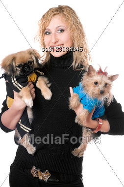 Portrait Of Smiling Pretty Young Blonde With Two Dogs. Stock Photo