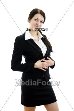 Portrait Of A Young Attractive Business Woman With Hands Folded. Isolated On White Stock Photo