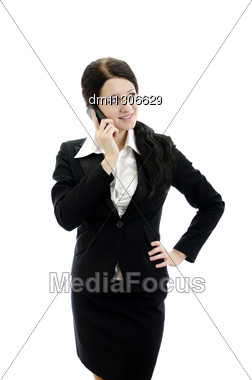 Portrait Of A Young Attractive Business Woman With Mobile Phone. Isolated On White Stock Photo