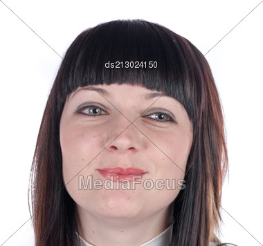Portrait Of Young Attractive Woman With Dark Hair. Stock Photo