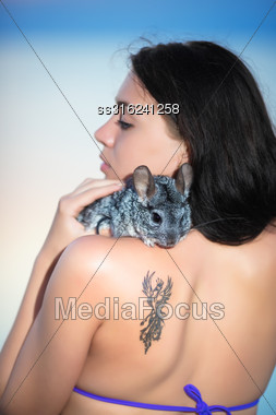 Portrait Of Young Brunette Posing With Chinchilla Stock Photo