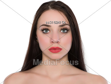 Portrait Of Young Caucasian Woman With Bare Shoulders. Isolated On White Stock Photo