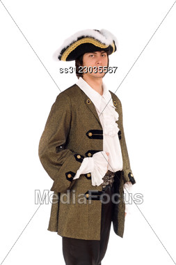 Portrait Of Young Man In A Historical Costume. Stock Photo