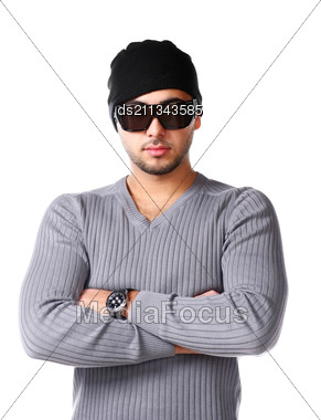 Portrait Of Young Trendy African Man Posing With Attitude Stock Photo