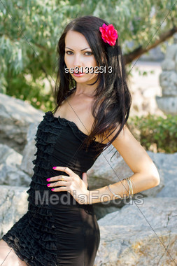 Portrait Of A Young Woman In Black Dress Outdoors Stock Photo