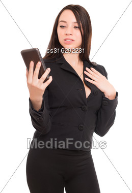 Portrait Of Young Woman With Smartphone. Isolated On White Stock Photo
