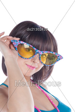 Portrait Of Young Woman Wearing Funny Eyeglasses Stock Photo