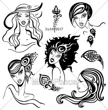 Portraits set of beautiful women Retro Style Illustration Stock Photo