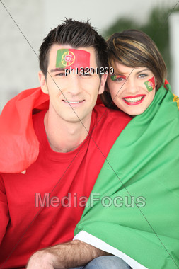 Portuguese Soccer Fans Stock Photo