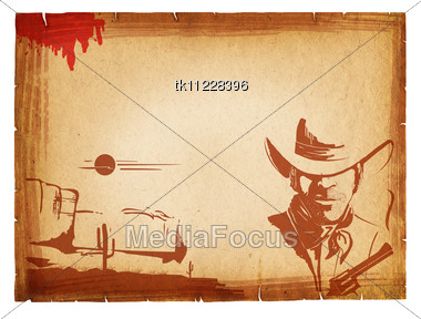 Keywords: adult background Bandanna cartoon color contrast cowboy drawing ...
