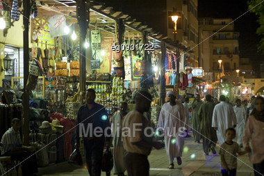 Posts At A Market In Assuan, Egypt, In The Night Stock Photo
