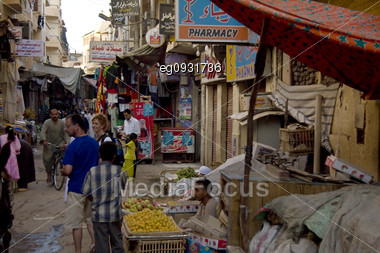 Posts At A Market In Luxor, Egypt, In The Afternoon Stock Photo