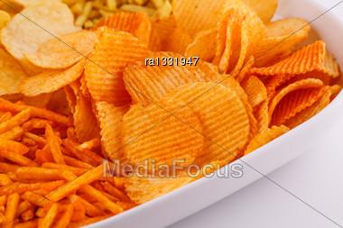 Potato Chips In Bowl, Closeup Image Stock Photo