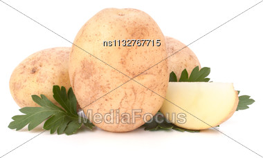 Potato And Parsley Leaves Isolated On White Background Cutout Stock Photo