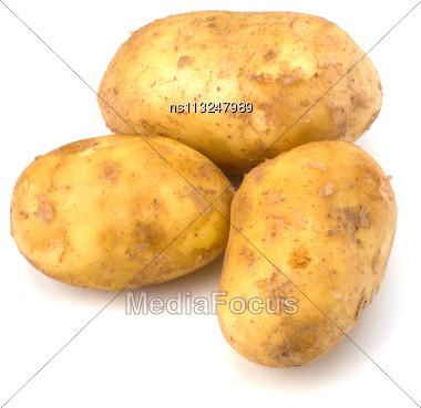 Potatoes Isolated On White Background Close Up Stock Photo