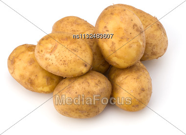 Potatoes Isolated On White Background Close Up Stock Photo