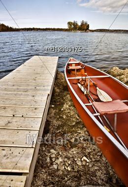 Potawatomi State Park Boat Rental Canoe Dock Wisconsin Sturgeon Bay Stock Photo