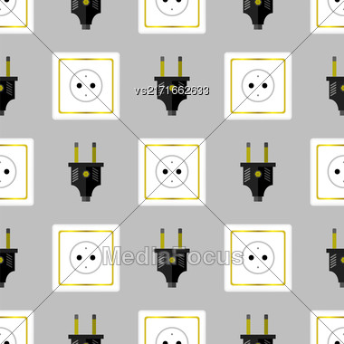 Power Plug Seamless Pattern On Grey Background Stock Photo