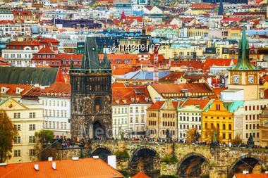 PRAGUE - OCTOBER 17: Charles Bridge Aerial View On October 17, 2014 In Prague, Czech Republic. It's A Famous Historic Bridge That Crosses The Vltava River In Prague Stock Photo