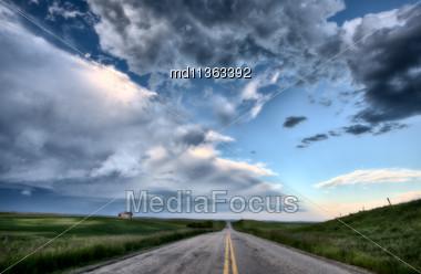 Prairie Road And School House Saskatchewan Canada Stock Photo