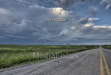 Prairie Road And School House Saskatchewan Canada Stock Photo