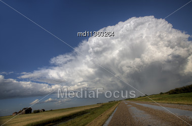 Prairie Road Storm Clouds Saskatchewan Canada Field Stock Photo