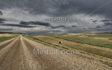 Prairie Road Storm Clouds Saskatchewan Canada Field Stock Photo