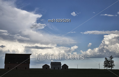 Prairie Scene Sillouette In Saskatchewan Canada Farm Stock Photo