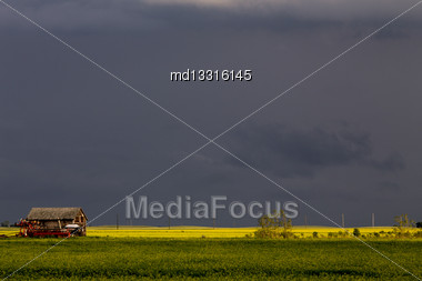 Prairie Storm Clouds Ominous Weather Saskatchewan Canada Stock Photo