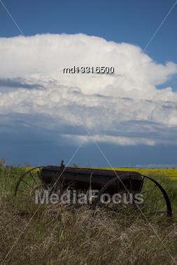 Prairie Storm Clouds Ominous Weather Saskatchewan Canada Stock Photo