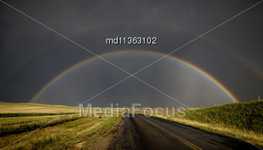 Prairie Storm Rainbow Saskatchewan CAnada Hail Dramatic Stock Photo