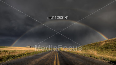 Prairie Storm Rainbow Saskatchewan CAnada Hail Dramatic Stock Photo