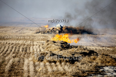 Prairie Stubble Burn In Saskatchewan Canada Stock Photo