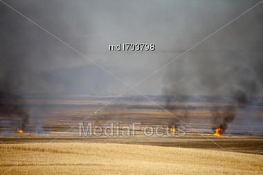 Prairie Stubble Burn In Saskatchewan Canada Stock Photo