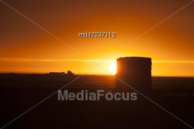 Prairie Sunset Sillouette In Saskatchewan Canada Stock Photo