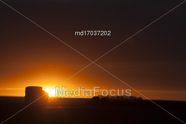 Prairie Sunset Sillouette In Saskatchewan Canada Stock Photo