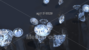 Precious Gems: Group Of Diamonds Rolling Over With Reflection Stock Photo