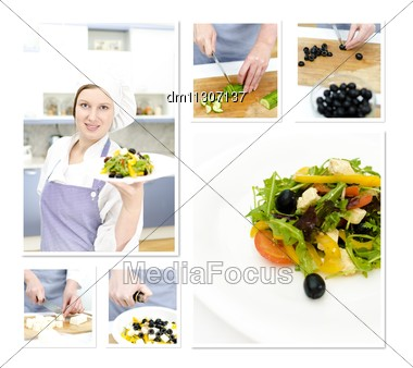 Preparation Of A Greek Salad Collage. Made Of Six Photos Stock Photo