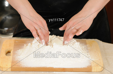 Preparation Of The Test For A Baking Of Rolls Stock Photo