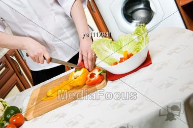 Preparing A Vegetarian Meal Stock Photo