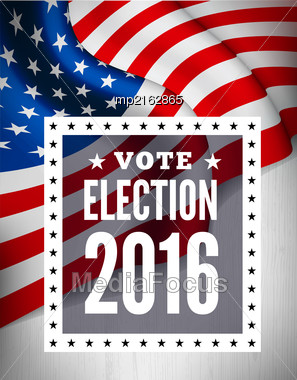 Presidential Election In USA. Vector Illustration With Flag Stock Photo