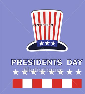 Presidents Day Icon Isolated On Blue Background Stock Photo