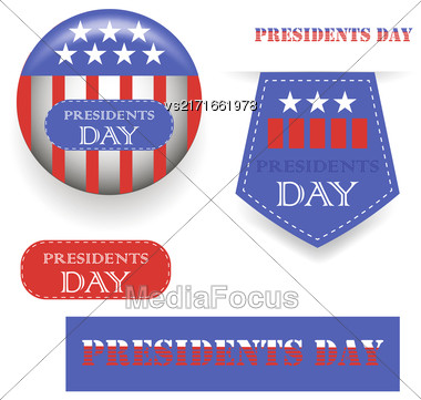 Presidents Day Icons Isolated On White Background Stock Photo