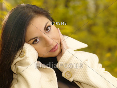 Pretty Adult Woman Outdoor Portrait Stock Photo
