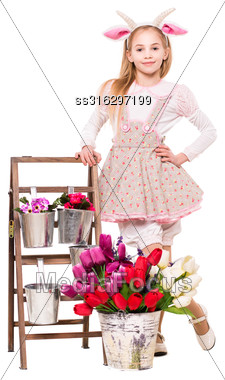 Pretty Blond Girl Dressed Like A Goat Posing Near Flowers. Isolated On White Stock Photo