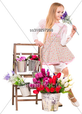 Pretty Blond Girl Posing With Flowers. Isolated On White Stock Photo