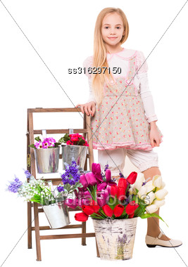 Pretty Blond Girl Posing Near Flowers. Isolated On White Stock Photo
