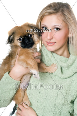 Pretty Blonde Posing With A Pekinese Puppy. Stock Photo
