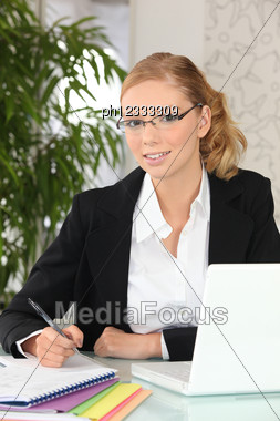 Pretty Blonde Student Stock Photo