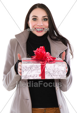 Pretty Cheerful Woman Posing With A Fancy Box. Isolated On White Stock Photo